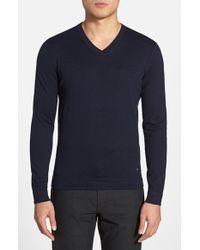 BOSS - Blue 'eriberto' V-neck Cotton & Cashmere Sweater for Men - Lyst