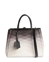 Fendi - Black and Ivory Ombre Pattern Detail 2jours Medium Shopper Tote - Lyst