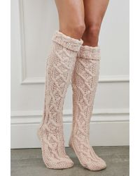 Forever 21 | Pink Cuffed Knee-high Slipper Socks | Lyst