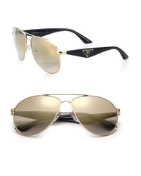 Prada | Metallic 60mm Aviator Sunglasses | Lyst