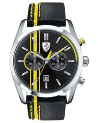 Scuderia Ferrari - Men's Chronograph D50 Yellow And Black Leather Strap Watch 44mm 830235 for Men - Lyst