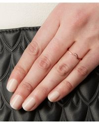 Anna Sheffield - Metallic White Diamond And Rose Gold Tiny New Moon Ring - Lyst