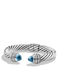 David Yurman | Metallic Cable Classics Bracelet With Blue Topaz | Lyst