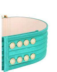 Balmain - Green High Waist Pleated Satin Belt - Lyst