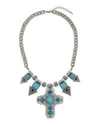 TOPSHOP - Blue Semi Precious Arrow Necklace - Lyst