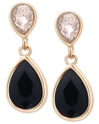 Tahari - T Gold-tone Crystal And Black Stone Drop Earrings - Lyst