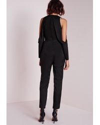 Missguided - Tux Cut Out Shoulder Jumpsuit Black - Lyst