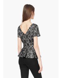 Mango - Black Floral Lace Top - Lyst