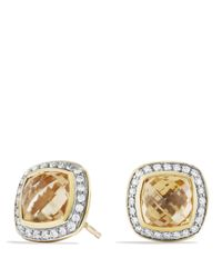 David Yurman - Metallic Albion Earrings With Champagne Citrines And Diamonds In Gold - Lyst