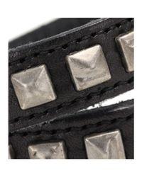 Saint Laurent | Black Embellished Leather Bracelet | Lyst