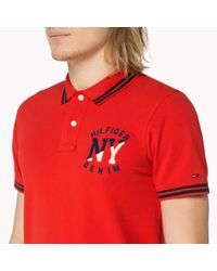 Tommy Hilfiger | Red Cotton Logo Polo for Men | Lyst