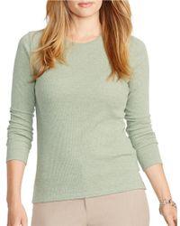 Lauren by Ralph Lauren | Green Plus Cotton Crewneck Shirt | Lyst