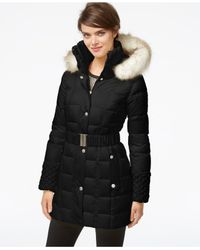 Betsey Johnson | Black Faux-fur-hood Belted Puffer Coat | Lyst