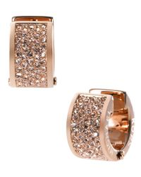Michael Kors | Metallic Rose Gold Tone And Crystal Huggie Hoop Earrings | Lyst