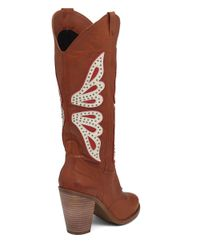 Jessica Simpson | Brown Caralee Leather Cowgirl Boots | Lyst