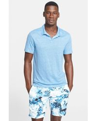 Onia | Blue 'Shaun' Linen Polo for Men | Lyst