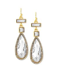 Vince Camuto - Multicolor Goldtone Crystal Stone Linear Drop Earrings - Lyst