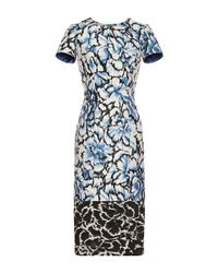 Carolina Herrera | Black Floral Printed Sheath Dress | Lyst
