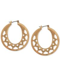 Lucky Brand - Metallic Gold-tone Openwork Hoop Earrings - Lyst