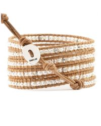 Chan Luu | Metallic 3mm White Pearl, Swarovski Crystal And Sterling Silver Multi-row Wrap Bracelet | Lyst
