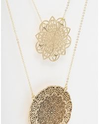 ASOS | Metallic Curve Filigree Multirow Necklace | Lyst