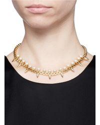 Joomi Lim - Metallic 'love Thorn' Faux Pearl Spike Chain Necklace - Lyst