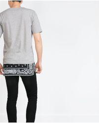 Zara | Gray T-shirt With Bandana Print Hem for Men | Lyst