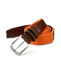 Saks Fifth Avenue - Orange Braided Belt for Men - Lyst