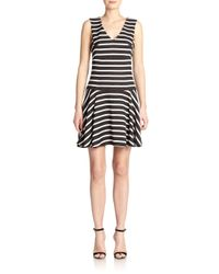 4.collective - Black Striped Drop-waist Dress - Lyst