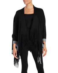 Lord & Taylor | Black Knit Poncho | Lyst
