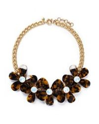 J.Crew | Brown Tortoise Flower Necklace | Lyst