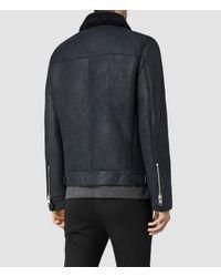 AllSaints - Blue Pilot Shearling Jacket for Men - Lyst