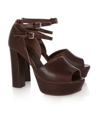 Marni   Brown Leather Platform Sandals   Lyst