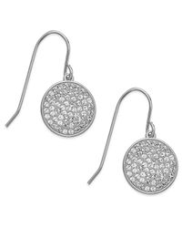 Swarovski | White Rhodium-Plated Disc Clear Crystal Pave Drop Earrings | Lyst