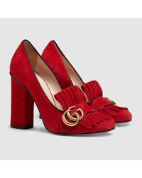 Gucci - Red Suede Loafer Pumps - Lyst