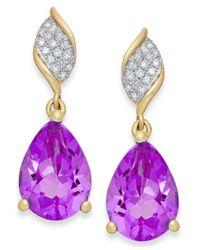 Macy's - Purple Amethyst (3-1/8 Ct. T.w.) And Diamond (1/10 Ct. T.w.) Drop Earrings In 10k Gold - Lyst