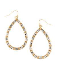 Fragments - Metallic Crystal Baguette Teardrop Earrings - Lyst