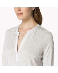 Tommy Hilfiger - White Cotton Viscose Long Sleeve Top - Lyst