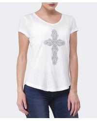 True Religion | White Cross Diamante T-shirt | Lyst