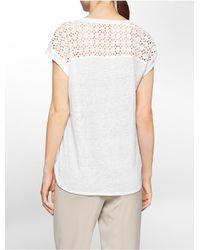 Calvin Klein - White Label Eyelet Shoulder Detail Slub Short Sleeve Top - Lyst