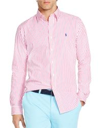 Polo Ralph Lauren | Pink Striped Poplin Shirt for Men | Lyst