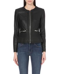 French Connection | Black Diamond-stitch Faux-leather Jacket | Lyst