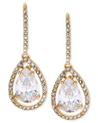 Betsey Johnson | Metallic Gold-Tone Clear Crystal Teardrop Earrings | Lyst
