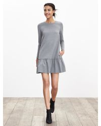 Banana Republic | Gray Drop-waist Ponte Dress | Lyst