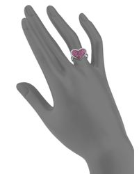 Effy | Metallic Final Call Ruby, Diamond & 14k White Gold Heart Ring | Lyst