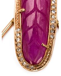 Jacquie Aiche - Purple Pink Tourmaline And Diamond Hoop Earrings - Lyst