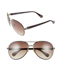 Diane von Furstenberg - Brown 'sydney' 60mm Aviator Sunglasses - Dark Tortoise - Lyst