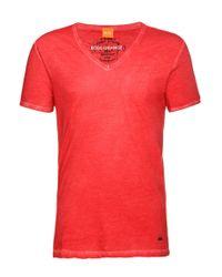 BOSS Orange - Red 'toulouse' | Cotton V-neck T-shirt for Men - Lyst