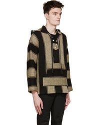 Saint Laurent - Natural Beige & Black Linen Poncho Hoodie for Men - Lyst