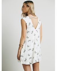Free People | White Womens Jagger Printed Mini Dress | Lyst